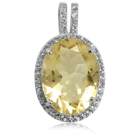 HUGE 7.69ct. Natural Citrine & White Topaz Gold Plated 925 Sterling Silver Pendant