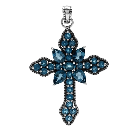 4.15ct. Genuine London Blue Topaz 925 Sterling Silver Vintage Style Cross Pendant