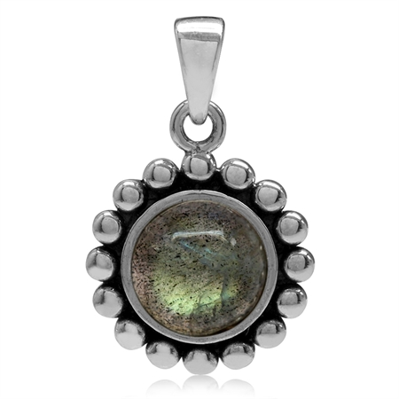 8MM Natural Labradorite 925 Sterling Silver Bali/Balinese Style Pendant