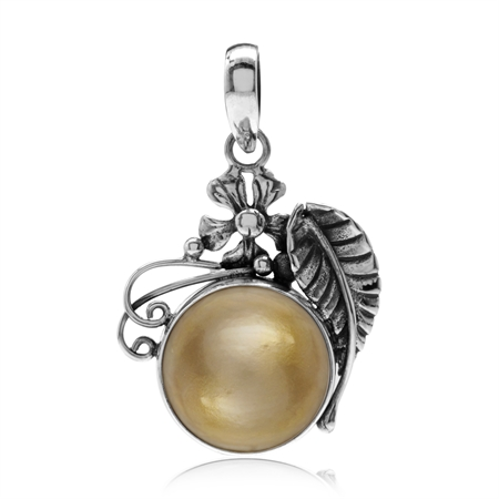 Cultured Mabe Pearl 925 Sterling Silver Flower & Leaf Pendant