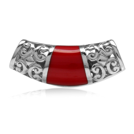 Created Red Coral Inlay White Gold Plated 925 Sterling Silver Filigree Slide Pendant