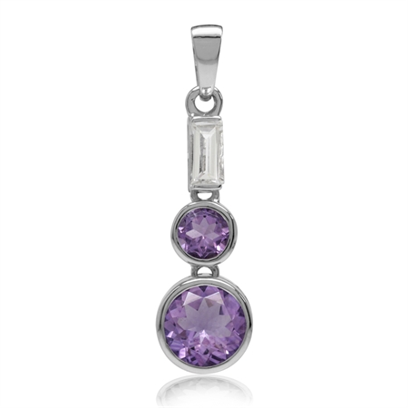 2.5ct. Natural Amethyst & White Topaz Gold Plated 925 Sterling Silver Fashion Pendant