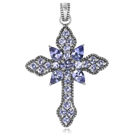 3.03ct. Genuine Tanzanite White Gold Plated 925 Sterling Silver Vintage Style Cross Pendant