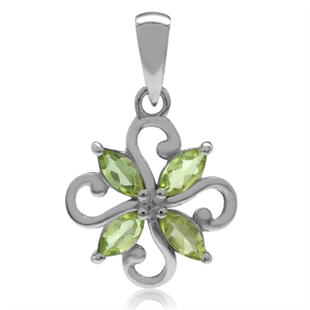 Natural Peridot White Gold Plated 925 Sterling Silver Victorian Style Flower Pendant