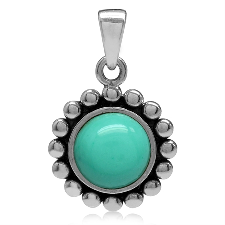 8MM Created Green Turquoise 925 Sterling Silver Bali/Balinese Style Pendant