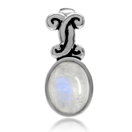 Natural Moonstone 925 Sterling Silver Victorian Style Pendant