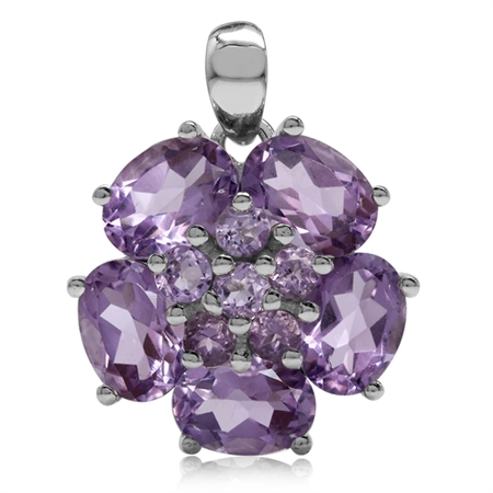 6.46ct. Natural Amethyst White Gold Plated 925 Sterling Silver Flower Cluster Pendant