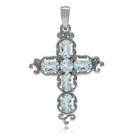 2.11ct. Genuine Blue Aquamarine White Gold Plated 925 Sterling Silver Victorian Cross Pendant
