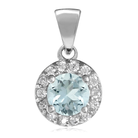 5MM Genuine Blue Aquamarine & White CZ Gold Plated 925 Sterling Silver Halo Pendant
