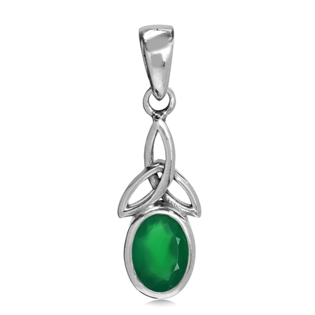 Natural Emerald Green Agate White Gold Plated 925 Sterling Silver Triquetra Celtic Knot Pendant