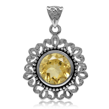 3.26ct. 10MM Natural Round Shape Citrine 925 Sterling Silver Filigree Bali/Balinese Style Pendant