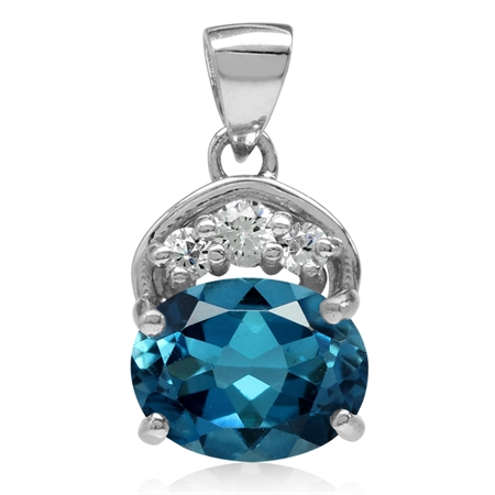 2.28ct. Genuine London Blue Topaz & White CZ Gold Plated 925 Sterling Silver Classic Pendant