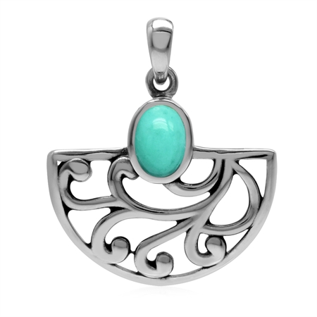 Created Oval Shape Green Turquoise 925 Sterling Silver Filigree Swirl & Spiral Semi Circle Pendant