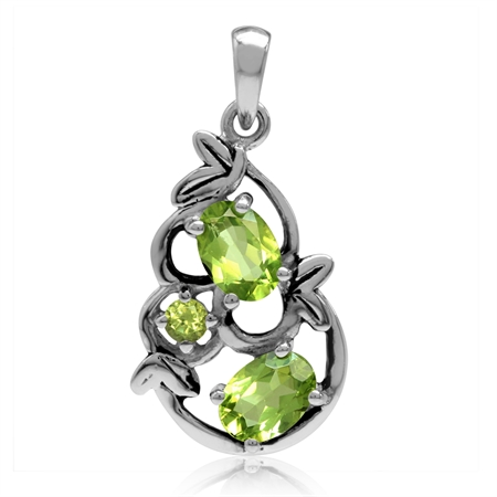 1.88ct. Natural Oval Shape Peridot 925 Sterling Silver Leaf Vintage Inspired Pendant