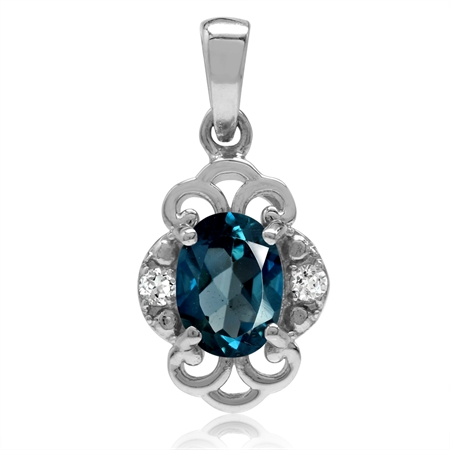 1.5ct. Genuine London Blue Topaz White Gold Plated 925 Sterling Silver Filigree Pendant