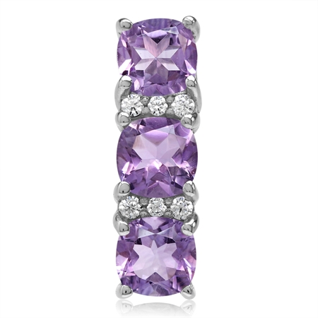 4.08ct. 3-Stone Natural Cushion Shape Amethyst White Gold Plated 925 Sterling Silver Pendant
