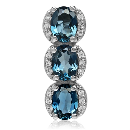 2.85ct. 3-Stone Genuine Oval Shape London Blue Topaz White Gold Plated 925 Sterling Silver Pendant