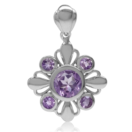 1.81ct. Natural Round Shape Amethyst White Gold Plated 925 Sterling Silver Flower Pendant