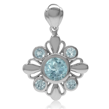 2.07ct. Genuine Round Shape Blue Topaz White Gold Plated 925 Sterling Silver Flower Pendant