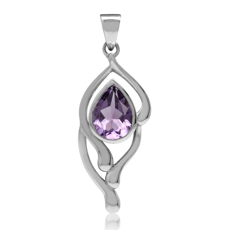 1.01ct. Natural Pear Shape Amethyst White Gold Plated 925 Sterling Silver Drop Solitaire Pendant