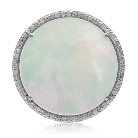 20MM Round Disc Shape Mother Of Pearl White Gold Plated 925 Sterling Silver Pendant