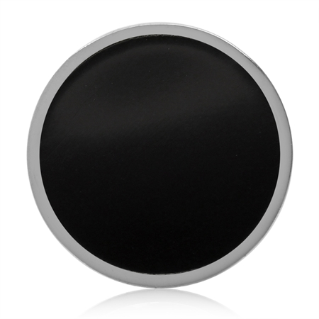 17MM Created Black Onyx 925 Sterling Silver Floating Slide Circle Modern Style Pendant