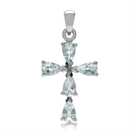 Genuine Blue Aquamarine White Gold Plated 925 Sterling Silver Cross Pendant