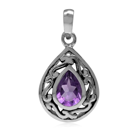 7x5MM Natural Pear Shape Amethyst 925 Sterling Silver Filigree Drop Solitaire Pendant