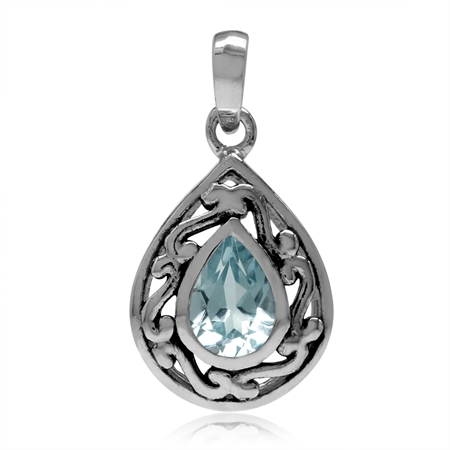 7x5MM Genuine Pear Shape Blue Topaz 925 Sterling Silver Filigree Drop Solitaire Pendant