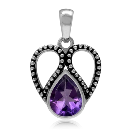 1.56ct. 9x7MM Natural Pear Shape African Amethyst 925 Sterling Silver Bali/Balinese Style Pendant