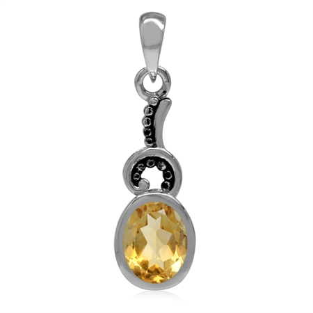1.21ct. 8x6MM Natural Oval Shape Citrine 925 Sterling Silver Bali/Balinese Style Pendant