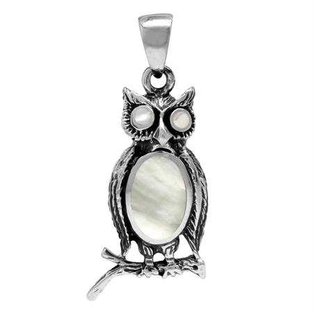 White Mother Of Pearl 925 Sterling Silver Wise Owl Pendant