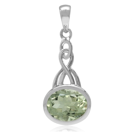 2.4ct. 10x8MM Oval Natural Green Amethyst White Gold Plated 925 Sterling Silver Celtic Knot Pendant