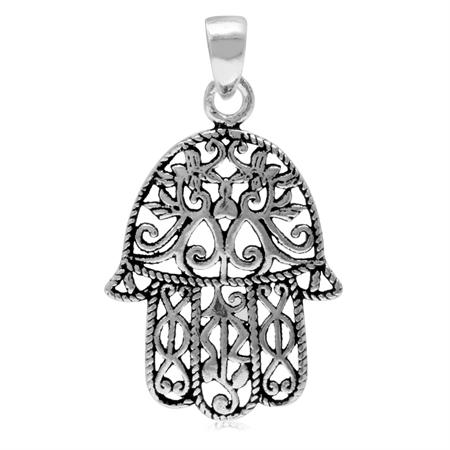 Victorian Filigree Hamsa Hand 925 Sterling Silver Pendant