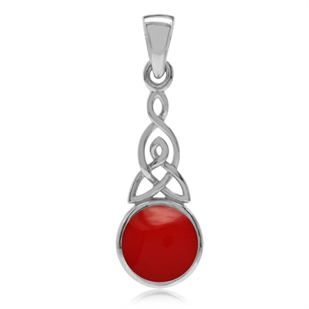 Created Red Coral 925 Sterling Silver Triquetra Celtic Knot Pendant
