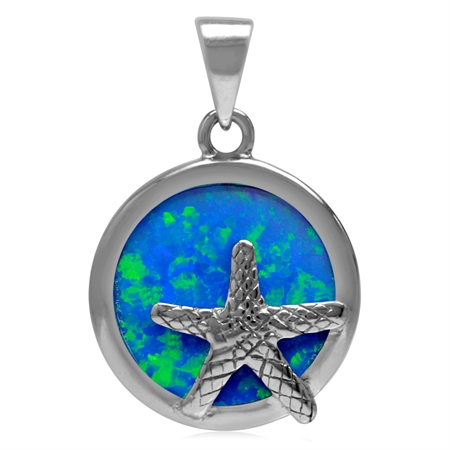16MM Round Shape Synthetic Opal White Gold Plated 925 Sterling Silver Starfish/Sealife Pendant