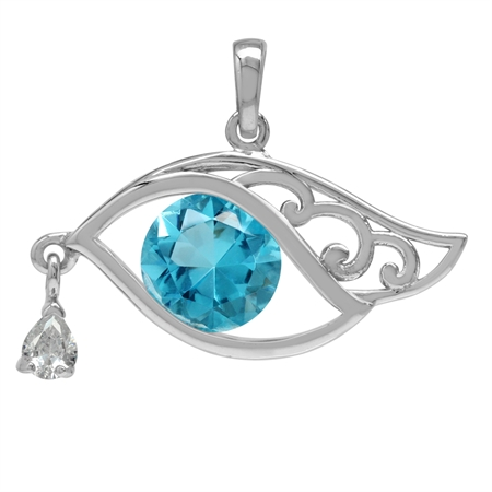 10MM Round Topaz Blue&White CZ 925 Sterling Silver Eye of Horus Inspired Pendant