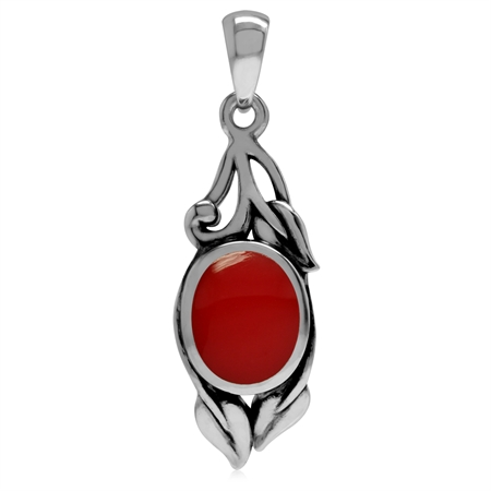 Created Red Coral 925 Sterling Silver Vintage Inspired Leaf Pendant