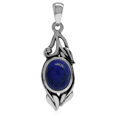 Genuine Lapis Lazuli 925 Sterling Silver Vintage Inspired Leaf Pendant