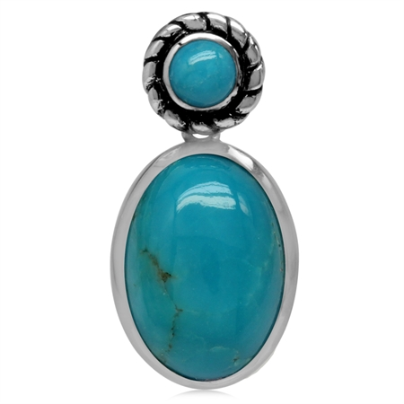 14x10MM Genuine Oval Shape Arizona Turquoise 925 Sterling Silver Rope Pendant