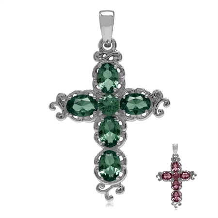 Simulated Color Change Alexandrite White Gold Plated 925 Sterling Silver Victorian Cross Pendant