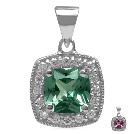 6MM Cushion Shape Simulated Color Change Alexandrite 925 Sterling Silver Halo Pendant