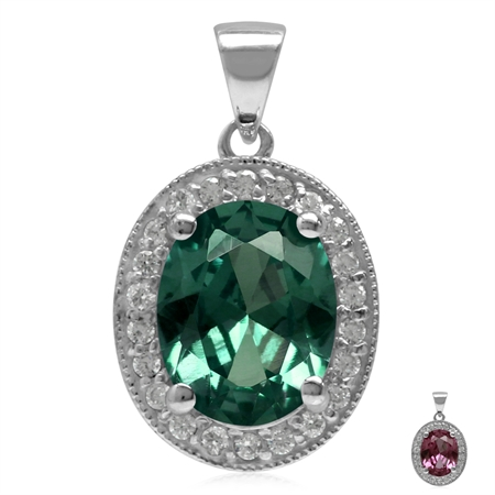 10x8MM Oval Shape Simulated Color Change Alexandrite 925 Sterling Silver Halo Pendant