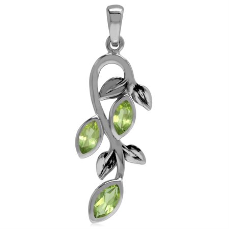 Natural Marquise Shape Peridot 925 Sterling Silver Leaf Vintage Inspired Pendant