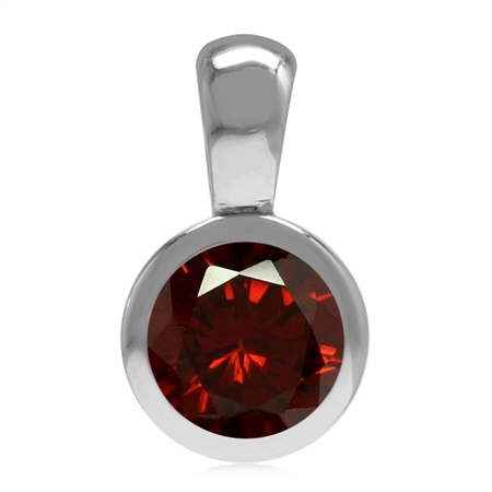 Garnet Red CZ January Birthstone 925 Sterling Silver Solitaire Pendant