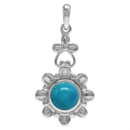 8MM Genuine Round Shape Arizona Turquoise 925 Sterling Silver Flower Solitaire Pendant