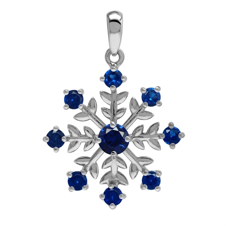 Created Blue Sapphire 925 Sterling Silver Snowflake Pendant