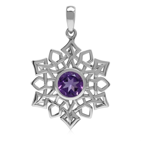 1.1 CT Genuine African Amethyst 925 Sterling Silver Celtic Knot Weave Snowflake Pendant