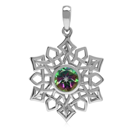1.5 CT Genuine Mystic Fire Topaz 925 Sterling Silver Celtic Knot Weave Snowflake Pendant