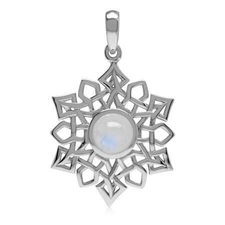 1.7 CT Natural Rainbow Moonstone 925 Sterling Silver Celtic Knot Weave Snowflake Pendant